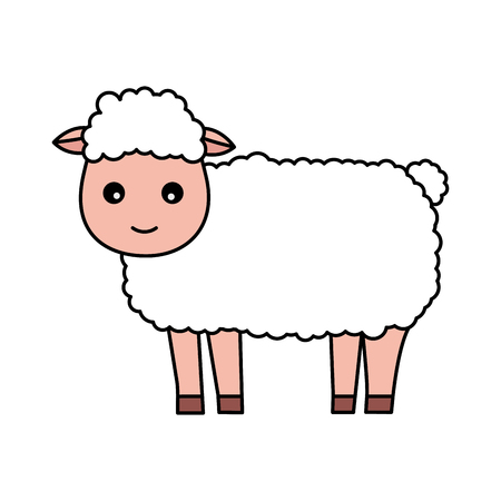 sheep farm animal on white background vector illustration Foto de archivo - 124907392