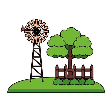 windmill tree fence farm fresh vector illustration Çizim