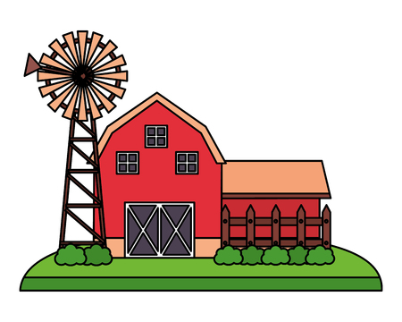 barn and mill farm fresh vector illustration Stock Vector - 124907395