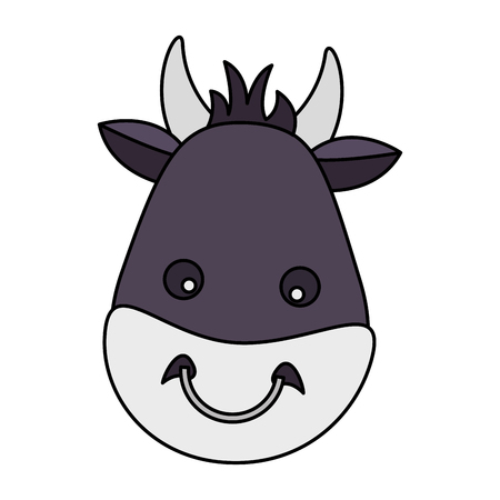 bull face animal on white background vector illustration