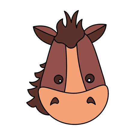 horse face animal on white background vector illustration