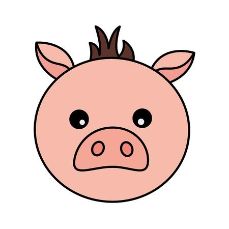 pig face animal on white background vector illustration Ilustração