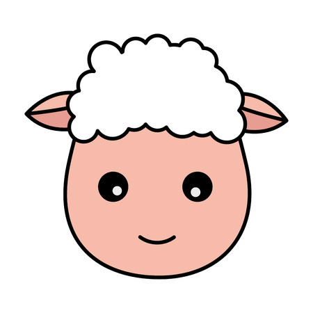 sheep face animal on white background vector illustration