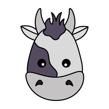 cow face animal on white background vector illustration