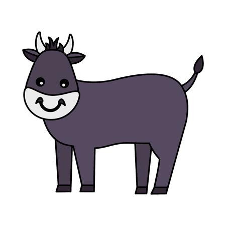 bull farm animal on white background vector illustration