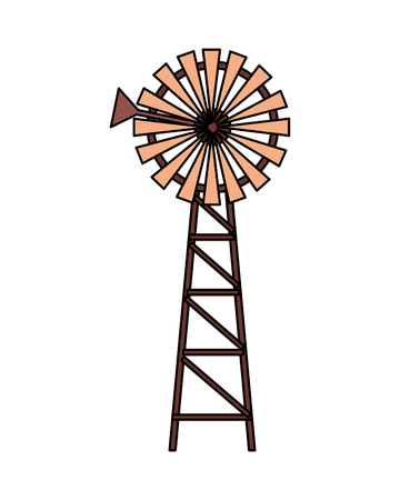 windmill farm fresh on white background vector illustration Foto de archivo - 124907403