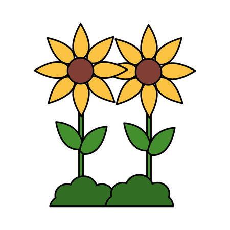 yellow flowers decoration on white background vector illustration