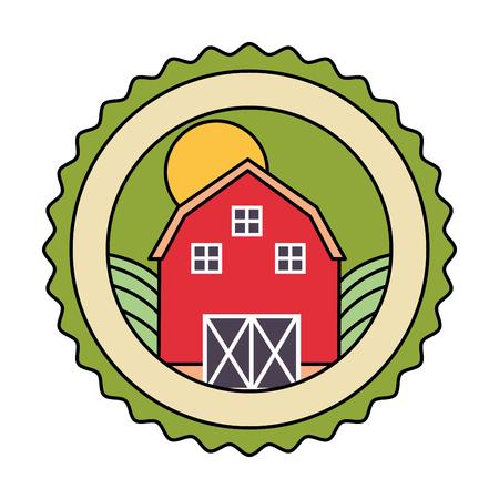 barn land farm fresh badge vector illustration 일러스트