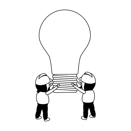 workers holding bulb idea creativity vector illustration Ilustrace