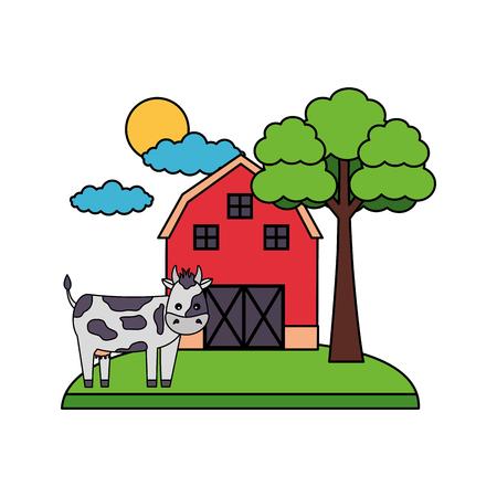 barn cow trees farm fresh vector illustration