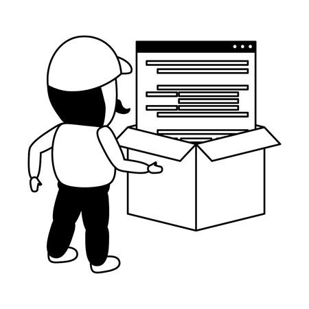 worker coding box mobile app development vector illustration