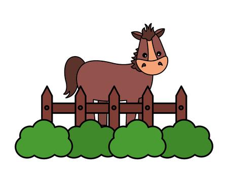 horse fence grass farm animal vector illustration Ilustrace