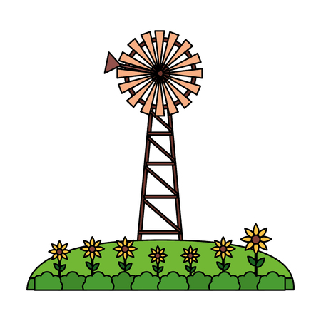 windmill garden flowers farm fresh vector illustration