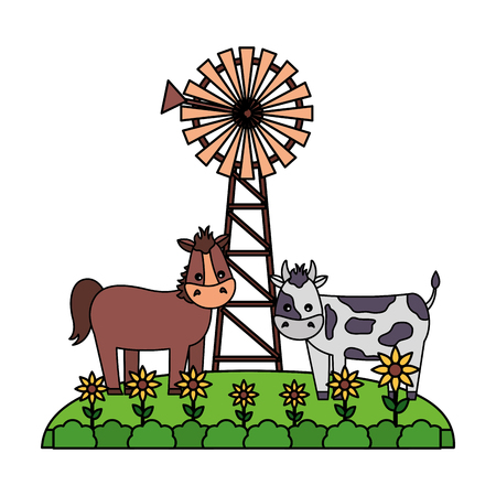 horse and cow flowers windmill farm fresh vector illustration 스톡 콘텐츠 - 124907421