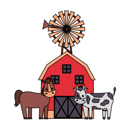 barn mill horse and cow farm fresh vector illustration Illustration
