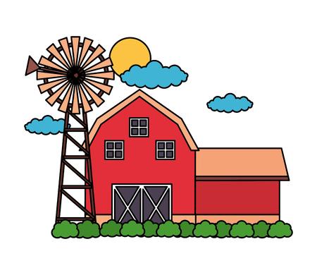 barn windmill sky farm fresh vector illustration 스톡 콘텐츠 - 124907426