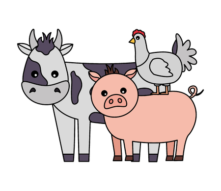 cow pig and chicken animals farm vector illustration Foto de archivo - 117760851