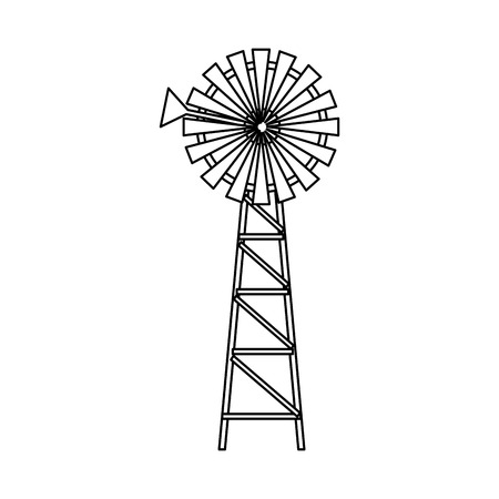 Windmühlenbauernhof frisch auf weißer Hintergrundvektorillustration
