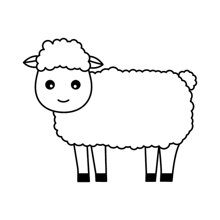 sheep farm animal on white background vector illustration