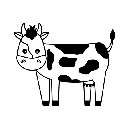 cow farm animal on white background vector illustration