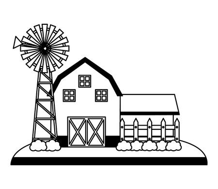 barn and mill farm fresh vector illustration