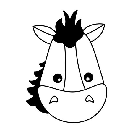 horse face animal on white background vector illustration