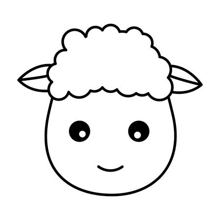 sheep face animal on white background vector illustration