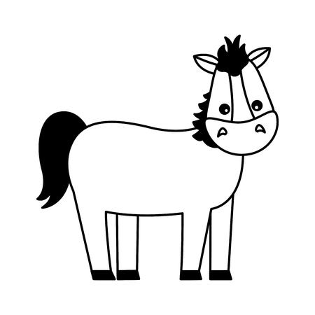 Animal de ferme cheval sur fond blanc vector illustration