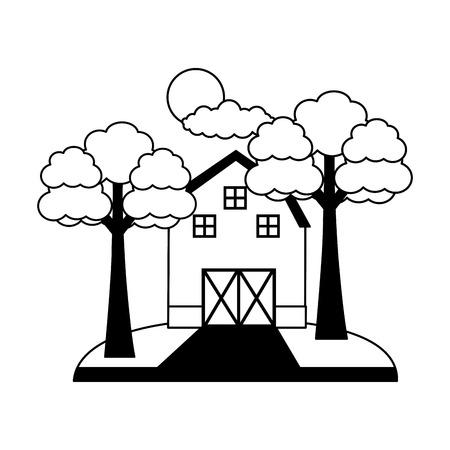 barn trees sky farm fresh vector illustration