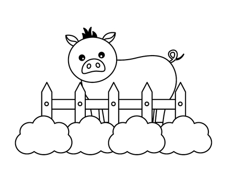 pig fence grass farm animal vector illustration Banque d'images - 124907446