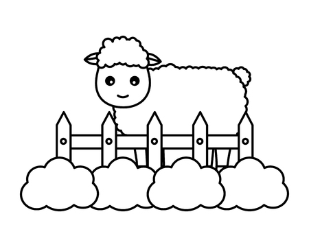 sheep fence grass farm animal vector illustration