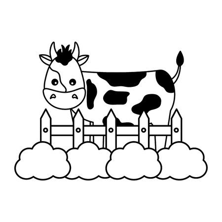 cow fence grass farm animal vector illustration
