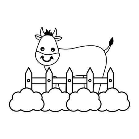 bull fence grass farm animal vector illustration