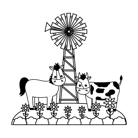horse and cow flowers windmill farm fresh vector illustration