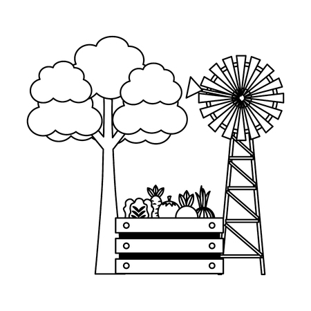 windmill vegetables and tree farm fresh vector illustration Çizim