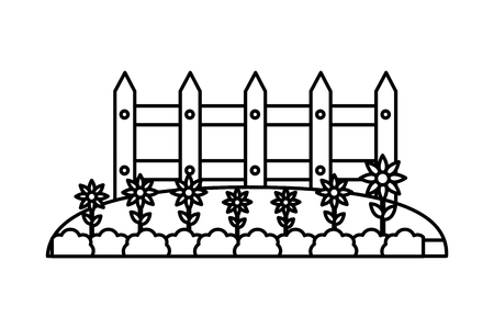 wooden fence garden flowers nature vector illustration