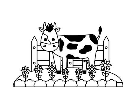 cow flowers fence grass farm animal vector illustration