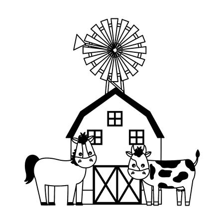 barn mill horse and cow farm fresh vector illustration 일러스트