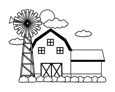 fienile mulino a vento cielo fattoria fresca illustrazione vettoriale