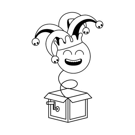 smiley emoji in the box april fools day vector illustration