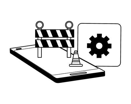 smartphone construction elements mobile app development vector illustration Çizim