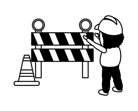 worker traffic barrier cone on white background vector illustration Çizim