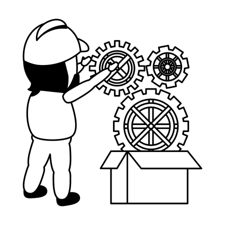 worker put gears on box mobile app development vector illustration  イラスト・ベクター素材
