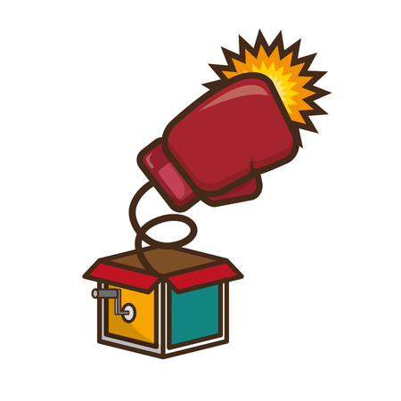prank box boxing glove april fools day vector illustration