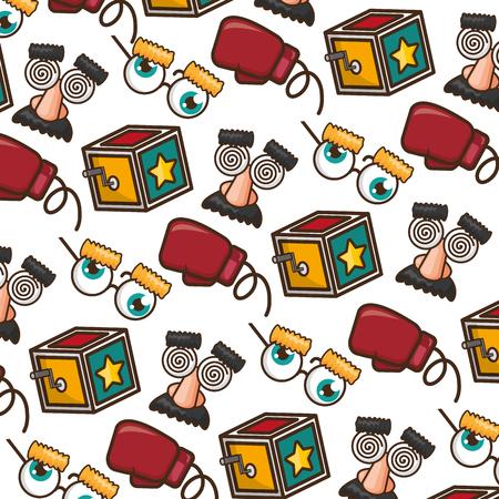 fondo caja gafas guante april fools day ilustración vectorial