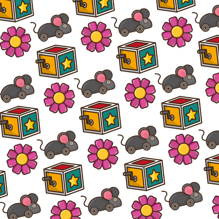 background box mouse flower april fools day vector illustration