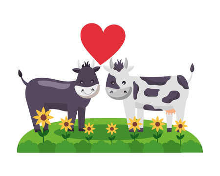 cute couple bull cow in the grass vector illustration Illusztráció