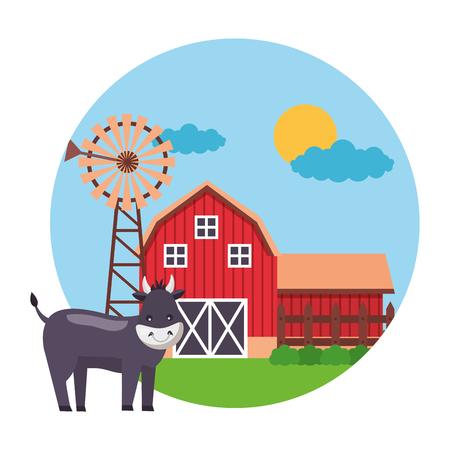 toro fienile mulino a vento fattoria fresca illustrazione vettoriale Vettoriali