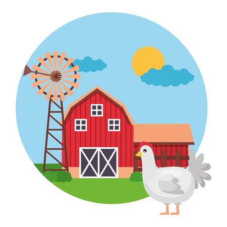 hen barn windmill farm fresh vector illustration