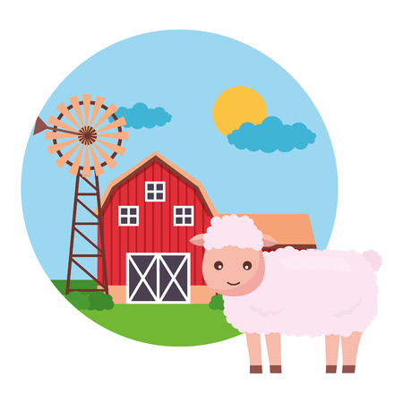 sheep barn windmill farm fresh vector illustration